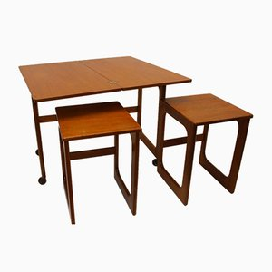 Mid-Century Teak Extending Triform Nesting Tables from McIntosh