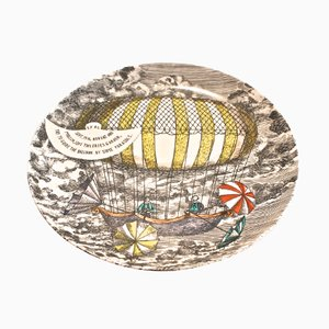 Yellow Hot Air Balloon Design Plate by Piero Fornasetti, 1955