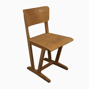Vintage Wooden Children's School Chair, 1960s