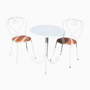 White Patio, Balcony or Garden Chairs & Table, Set of 3