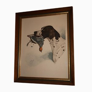 Antique French Hand-Drawn Hunting Dog with Partridge by Boris Riab