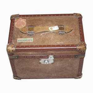 English Leather Suitcase with Various Stickers