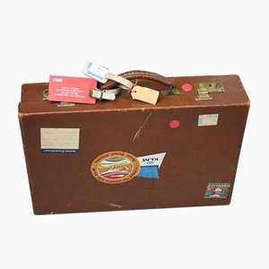 Hard Leather Business Suitcase with KLM Flap Folders