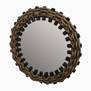 Vintage Wall Mirror with Wood and Rope