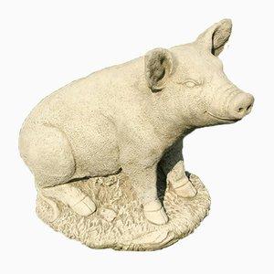 Concrete Garden Statue Sitting Pig