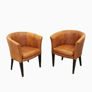 Leather Club Chairs, Set of 2