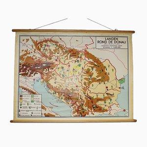 Stampa scolastica vintage dei paesi attorno al Danubio
