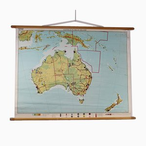 Vintage Schulkarte von Australien und Neuseeland