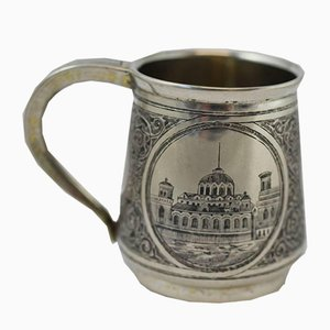 19th Century Russian Silver Cup with Niello Motif