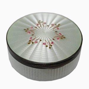 Boîte à Pilule Antique en Argent Émaillé Blanc