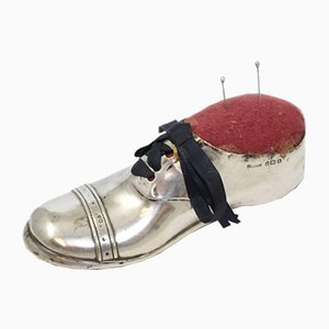 Large Silver Pincushion Shoe with Wooden Sole, 1910