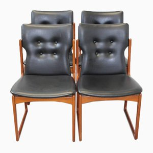 Danish Skai Leather Dining Chairs from Vamdrup, Set of 4