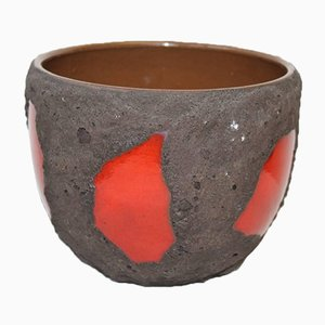 Vintage Red and Black Fat Lava Flower Pot from Roth