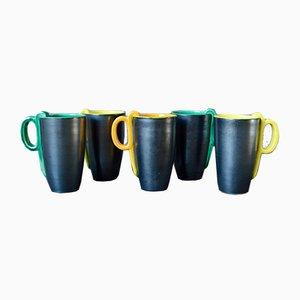 Ceramic Mugs, 1950s, Set of 5