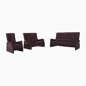 Aubergine Violet Leather Sofas & Armchair from Himolla, Set of 3