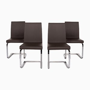 Dark Brown Leather 620 Cantilever Dining Chairs from Rolf Benz, Set of 4