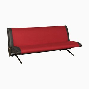 Vintage Fabric, Leather, Metal & Foam Sofa by Osvaldo Borsani for Tecno