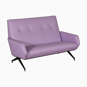 Vintage Italian Foam, Metal, and Leatherette Sofa