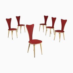 Vintage Italian Wood, Aluminum & Fabric Chairs by Umberto Mascagni, Set of 6