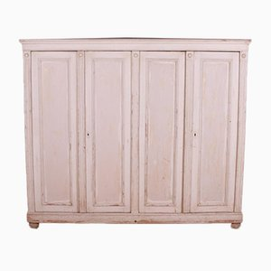 English Original Paint Linen Cupboard, 1860s