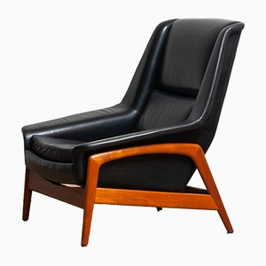Black Leather and Teak Model Profil Armchairs by Folke Ohlsson for Dux, 1960s, Set of 2