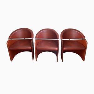 Fauteuils Vintage Gondole en Cuir de Matteo Grassi, Set de 3