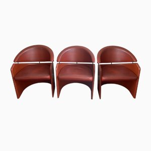 Vintage Burgundy Leather Gondola Armchairs from Matteo Grassi, Set of 3