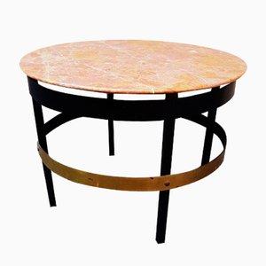Table Basse en Fer et Marbre Rouge avec Plateau en Laiton, 1950s