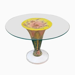Glazed Ceramic and Glass Coffee Table, 1960s