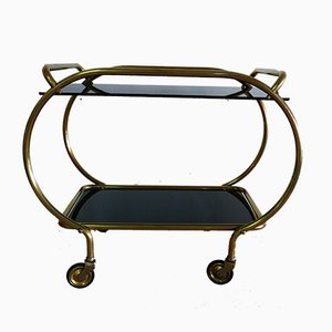 Brass and Black Glass Serving Trolley from Grünstadt, 1950s