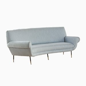 Large Natural Linen and Cotton Fabric 3-Seater Sofa by Gigi Radice for Minotti, 1950s