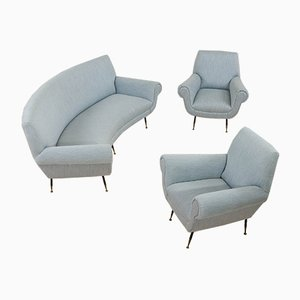 Italian Sofa and Armchairs Set by Gigi Radice for Minotti, 1950s, Set of 3