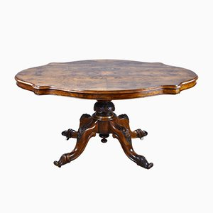 Victorian Oval Burl Walnut Dining Table