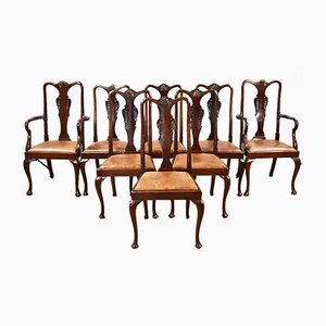 Antique Queen Anne Style Mahogany Dining Chairs, 1920s, Set of 8