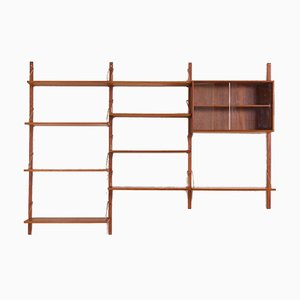 Teak Wall Unit and Glass Display Cabinet Set by Poul Cadovius for Cado, 1960s