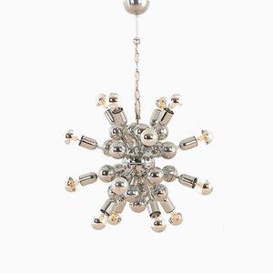 Lámparas de araña Sputnik vintage era espacial cromadas, años 70. Juego de 2