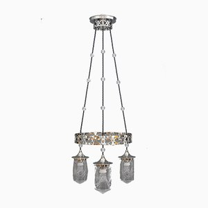 Art Deco Nickel-Plated Chandelier with Cut Glasses, 1920s