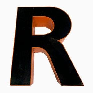 Letra R vintage de plexiglás