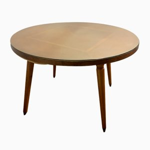 Round Lozenge Plated Oak Dining Table, 1960s