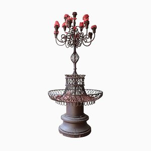 Large Art Nouveau Italian Forged Iron Candleholder, 1910s