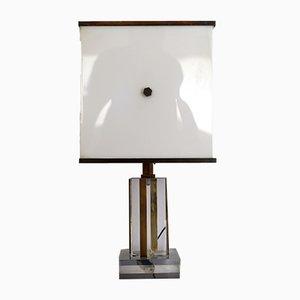 Lampada da tavolo vintage in acrilico, plexiglas e ottone di Romeo Rega, anni '60