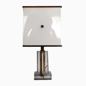 Vintage Acrylic, Plexiglass and Brass Table Lamp by Romeo Rega, 1960s