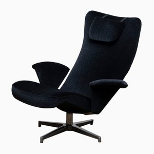 Black Velvet Contourett Ronto Swivel Chair by Alf Svensson for Dux, 1960s