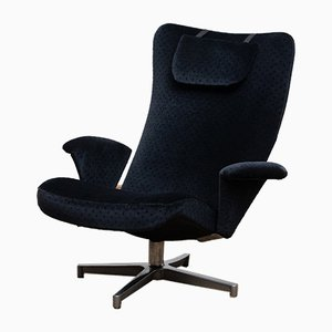 Black Velvet Contourett Ronto Swivel Chairs by Alf Svensson for Dux, 1960s, Set of 2