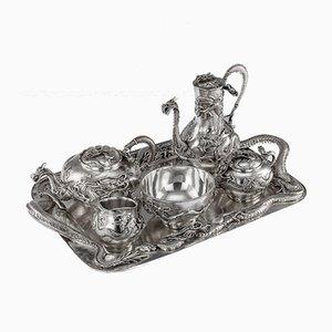 Antiker japanischer Silber Tee von Miyamoto, 1900er