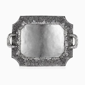 Large Antique Japanese Solid Silver Serving Tray from Konoike, 1900s
