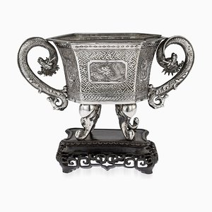 Antique 19th Century Chinese Solid Silver Jardiniere on Stand from You Ji, 1890s