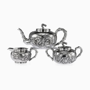 Antique 19th Century Chinese Solid Silver Dragon Tea Set from Wang Hing, 1890s