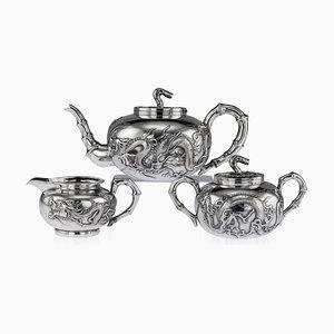 Set da tè antico in argento dorato di Wang Hing, Cina, fine XIX secolo