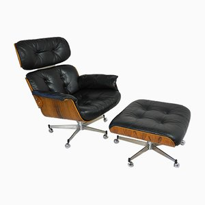 Swiss Rosewood Lounge Chair and Ottoman Set by Martin Stoll for Stoll Giroflex, 1960s